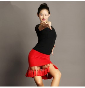 Black and red patchwork split set fringes sexy see through top women's ladies competition stage performance latin salsa cha cha dance dresses sets