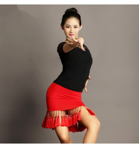 8a50d4074 Black and red patchwork split set fringes sexy see through top women's  ladies competition stage performance latin salsa cha cha dance dresses sets