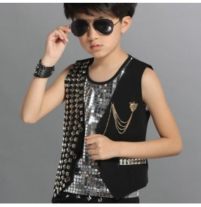 Black  and silver patchwork cotton and rivet fashion boys kids children school play stage performance singer hop hop jazz drummer playing dancing tops vest waistcoat