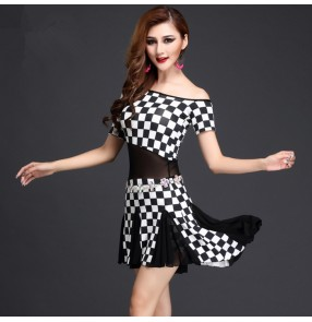 Black and white and blue and white and plaid printed  short sleeves women's ladies female competition performance belly dance costumes dresses outfits( no waist chain)
