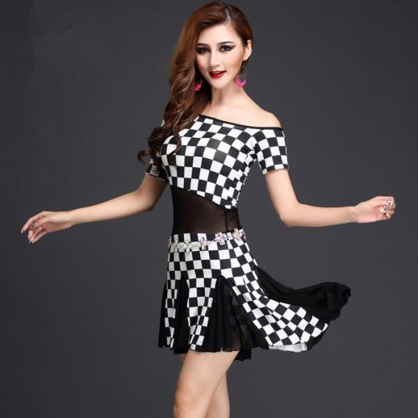 Checkered dress black and white dance