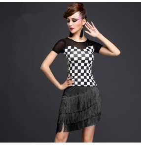 Black and white and royal blue and white plaid hot pink fuchsia short sleeves fringes women's ladies female competition performance latin salsa cha cha rumba samba dance dresses outfits sets