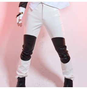 Black and white black and red patchwork leather fashion motor cycle men's male mans stage performance jazz singer punk rock hip hop dance long straight pants trousers