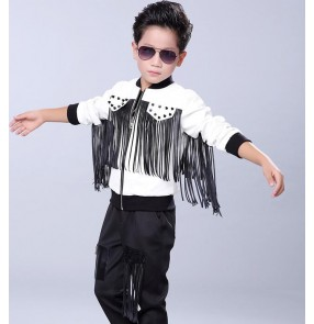 Black and white patchwork fringes leather fashion boys kids children stage performance hip hop jazz singer ds dance outfits jacket coats