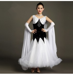 Black and white patchwork high quality rhinestones v neck big skirted women's  competition performance ballroom tango waltz dancing dresses for ladies