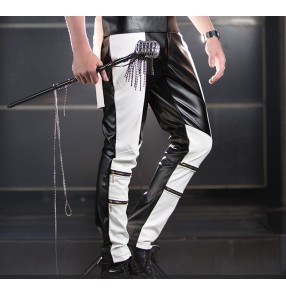 Black and white patchwork long length leather men's man male fashion stage performance party club motor cycle punk rock jazz singer dance pants trousers outfits