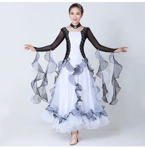 Black and white patchwork long sleeves rhinestones fashion women's ladies female competition performance professional full standard ballroom waltz tango dance dresses costumes outfits