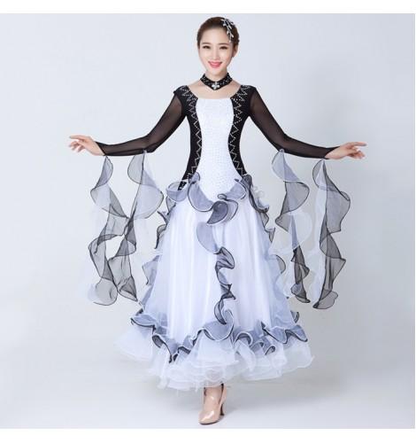 07060075e ... sleeves rhinestones fashion women's ladies female competition  performance professional full standard ballroom waltz tango dance dresses  costumes outfits