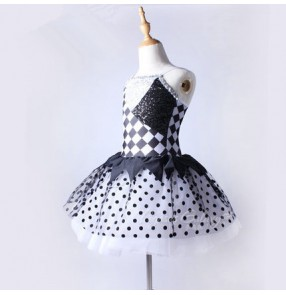 Black and white patchwork plaid polka dot printed sequins girls kids children performance competition professional ballet tu tu skirt dance outfits costumes