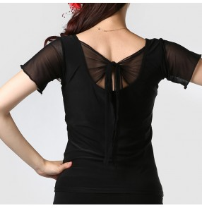 Black back bowknot short sleeves round neck women's ladies female competition performance latin ballroom tango flamenco  waltz dancing tops blouses shirts