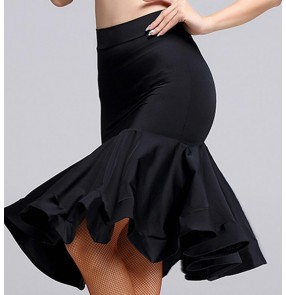 Black back slit ruffles hem women's ladies female competition performance practice professional latin salsa cha cha samba dance skirts