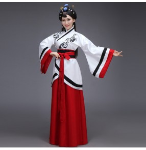 Black blue red black patchwork women's ladies female long length chinese ancient classical stage performance folk dance fairy ancient dynasty princess queen  cos play dance costumes dresses robe outfits