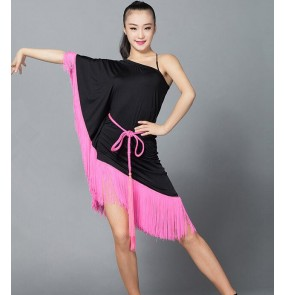 Black colored one shoulder irregular one shoulder tassels  hem  women's ladies female samba salsa cha cha latin dance dresses with sashes and shorts