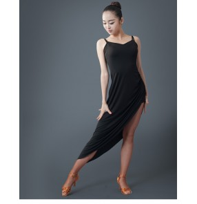 Black colored strap backless women's ladies female competition performance salsa latin dance dresses irregular hem outfits dance wear clothing