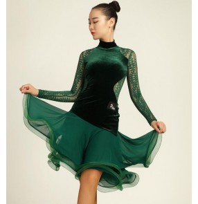 Black dark green velvet  lace see through back and long sleeves competition performance professional women's ladies latin ballroom dance dresses outfits