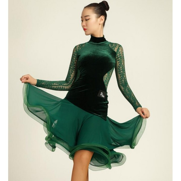 c08a7450 Black dark green velvet lace see through back and long sleeves competition  performance professional women's ladies latin ballroom dance dresses outfits