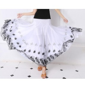 Black embroidery pattern white long length full standard skirted women's ladies female competition performance ballroom waltz tango cha cha samba dancing  dance skirts