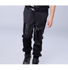 Black fringes leather patchwork fashion boys kids children stage performance competition school play hip hop jazz singer dance pants