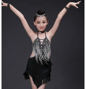 Black fringes tassels rhinestones handmade  girls kids children stage competition school play performance latin salsa samba ballroom dance dresses outfits