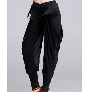 Black fringes waistline  women's ladies female fashion competition performance latin salsa cha cha rumba samba long length harem pants trousers
