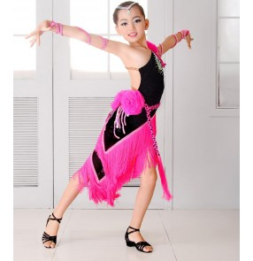 Black fuchsia hot pink patchwork fringes tassels one shoulder backless girls kids children diamond competition performance latin cha cha dance dresses outfits