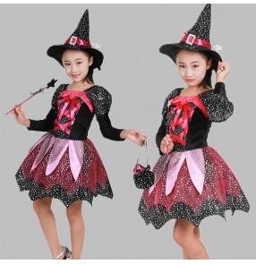 Black fuchsia hot pink patchwork long sleeves girls kids children Halloween Christmas party old witch cos play performance dresses costumes outfits