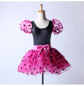 Black fuchsia hot pink polka dot printed patchwork short sleeves girls kids children performance professional competition tutu leotards skirt ballet dance dresses outfits