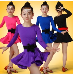 Black fuchsia hot pink royal blue purple violet long sleeves competition stage performance girls kids children latin ballroom dance dresses outfits