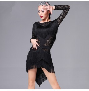 Black fuchsia royal blue lace fringes sexy fashion competition performance professional ballroom latin salsa dance dresses outfits