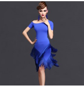 Black fuchsia royal blue purple violet short sleeves round neck competition professional women's ladies female latin salsa cha cha dance dresses outfits