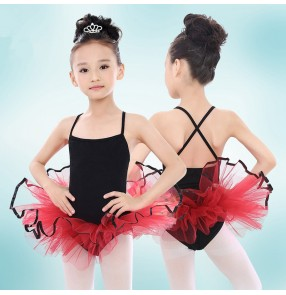 Black girls cotton Lycra strap tutu red skirt girls kids children swan lake princess competition gymnastics ballet dance leotards dresses costumes