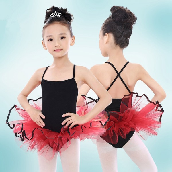 0e2a4f471 Black girls cotton Lycra strap tutu red skirt girls kids children swan lake  ...