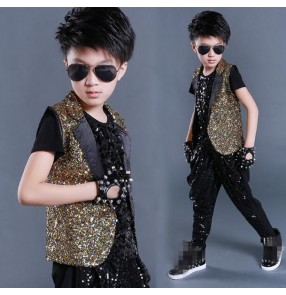 Black gold rainbow sequins paillette vest and harem pants boys kids children stage performance competition school play jazz hip hop singer dancing outfits sets