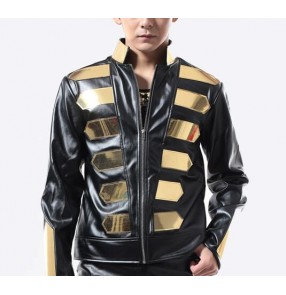 Black gold sequins rivet long sleeves men's male fashion motor cycle  singer dj ds jazz punk rock performance jazz jackets tops coat