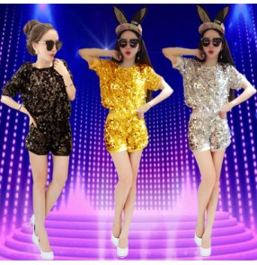 Black gold silver sequined girls women's ladies female sexy fashion modern dance jazz dance hip hop costumes outfits