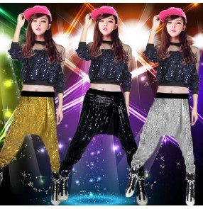 Black  gold yellow sequined long sleeves women's girls school play performance hip hop modern dance jazz dance costumes outfits