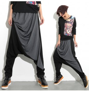 Black grey cotton women's dropped crotch baggy  loose harem fashion women's ladies female competition stage performance hip hop dancing pants trousers