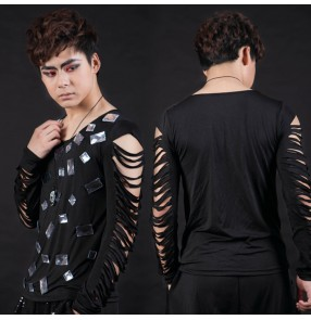 Black hollow fringes hole long sleeves fashion men's male rivet stage performance jazz  latin hip hop ds singer play dance tops t shirts
