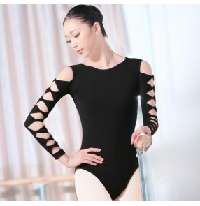Black hollow long sleeves backless women's ladies female adult competition performance gymnastics leotards practice ballet latin dance tops catsuits bodysuits