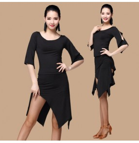 Black hollow shoulder irregular hem skirt simple design women's gymnastics performance competition latin cha cha salsa dance dresses outfits