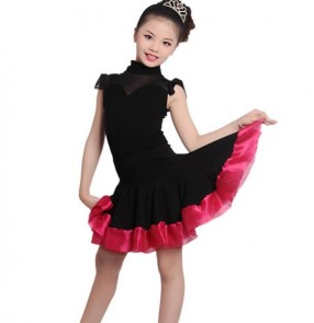Black hot pink fuchsia patchwork girls kids child children competition performance professional gymnastics latin salsa school play dance dresses set