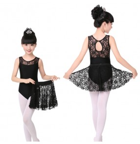 Black lace girls kids children performance competition practice gymnastics latin ballet dance outfits costumes  leotards catsuits with skirts