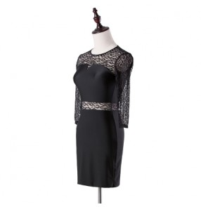 Black lace patchwork middle long sleeves round neck competition professional performance women's ladies female latin salsa dance dresses