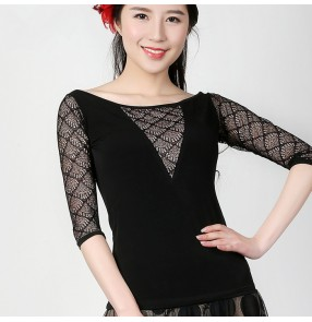 Black lace patchwork middle long sleeves v   see through neck competition performance professional ballroom tango waltz flamenco dance tops