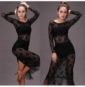 Black lace see through back split long sleeves fringes fashion sexy women's ladies female competition performance latin salsa cha cha dance dresses sets