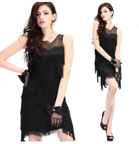 Black layers fringes tassels mesh fabric patchwork sleeveless women's ladies female competition performance latin salsa cha cha dance dresses outfits