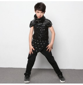 Black leather rivet  sequins boys kids children modern dance fashion stage performance jazz ds singer drummer play hip hop punk rock dance costumes outfits