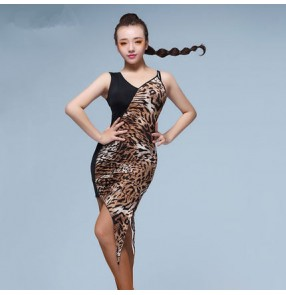 Black leopard patchwork one shoulder irregular hem sexy fashion women's female samba performance competition professional latin salsa dance dresses outfits