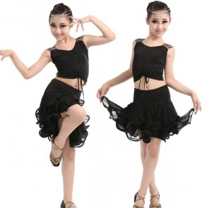Black leopard patchwork sleeveless girls kids child children gymnastics performance latin salsa cha cha dance wear dance dresses