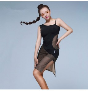 Black leopard see through side split tank sleeveless women's ladies female sexy fashionable latin salsa cha cha dance dresses outfits